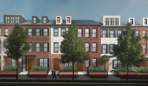 artistic rendering of completed 11th and vermont condominium and townhome project