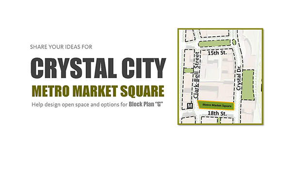 advertisement for the crystal city block plan g and metro market square meeting on march 21