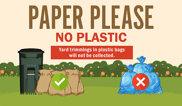 Paper please no plastic. Yard trimmings in plastic bags will not be collected.
